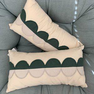 "NWT 2 Nordstrom Petal Applique Throw Pillow 12""X24"